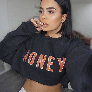 "2018 ""HONEY"" Cropped Long Sleeve Sweatshirt"
