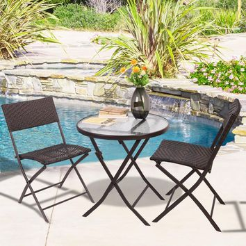 GOPLUS Patio Furniture Folding 3PC Table Chair Set Bistro Style Backyard Ratten HW51711