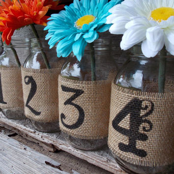 Burlap Mason Jar Table Numbers DIY Mason Jar Table Numbers Burlap Wedding Mason Jar Wedding Table Number Centerpieces