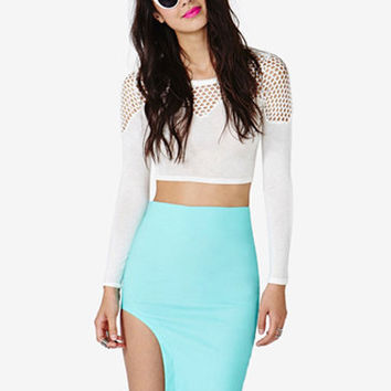 Blue Asymmetrical Mini Skirt