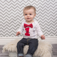 BOYS Personalized FIRST BIRTHDAY Bow Tie Outfit-Birthday Bodysuit with Red 1, Red Bow Tie and Gray/White Chevron Suspenders-Photo Props