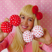 CUTE Party Favors Bows Polkadot bows Small Trio Hair Clip On Minnie Mouse 1950's Kawaii Hair Bow Clips Vintage Inspired Retro pin up bows