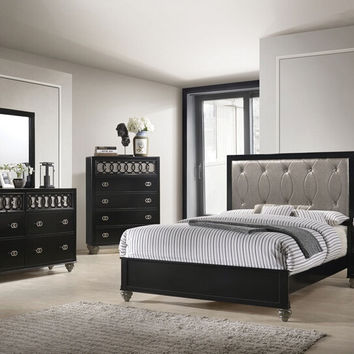 Acme 27070Q 5 pc Ulrik black finish wood queen bedroom set copper leather like vinyl tufted accents