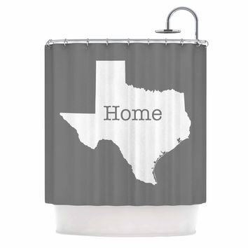 "Bruce Stanfield ""Texas Is Home"" White Gray Shower Curtain"