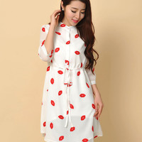 Cute Red Lips Chiffon Dress