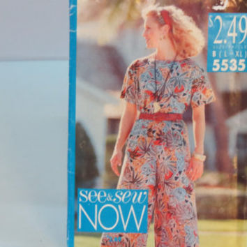 Vintage Butterick see & sew now sewing pattern 5535 women's top and split skirt size L - XL