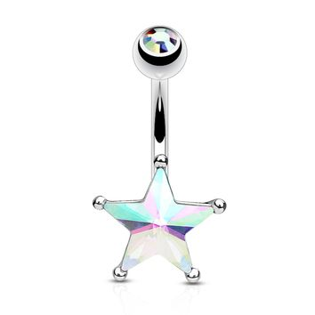 BodyJ4You Belly Button Ring Big Star Aurora Crystal CZ Curved Barbell Navel Piercing Surgical Steel 14G