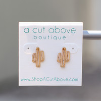 Cactus Stud Earrings - Gold