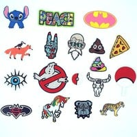 Lilo Stitch Peace Pizza Fox Batman Unicorn Patches Kids DIY Cute Sewing Embroidered Ghostbusters Wolf Tiger Patches For Clothing