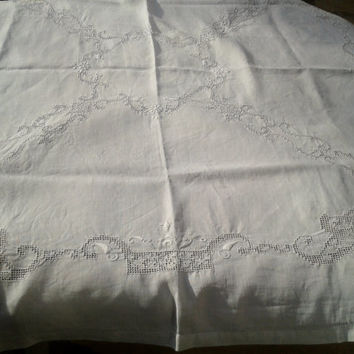 1900 's White French Linen Tablecloth Matching 10 Napkins Set Hand Embroidery Cut Work White 4/6 persons
