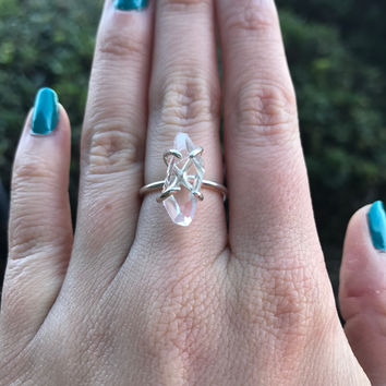 Adjustable Herkimer Diamond Stacking Ring - Ready to Ship - Size 5-8
