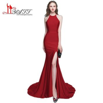 Modest Burgundy Prom Dresses Mermaid 2017 Robe De Soiree Formal Party Dress Evening Gowns With High Split Free Shipping BD019