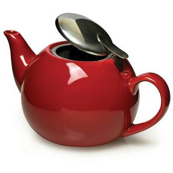 Ceramic Teapot With Infuser Red