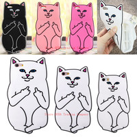 3D Cute cartoon ripndipp Pocket Cat Middle Finger white corna cat soft silicone case For iphone 7/7PLUS 4 4S/5C 5s/SE/6/6s plus