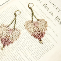 lace earrings -VALENCIA- ombre ecru mauve