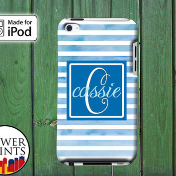 Blue Watercolor Stripe Pattern Cursive Cute Custom Monogram for iPod Touch 4th Generation and iPod Touch 5th Generation Gen Plastic Rubber