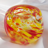 Handmade Red and Yellow Small Vase, Fall Gift