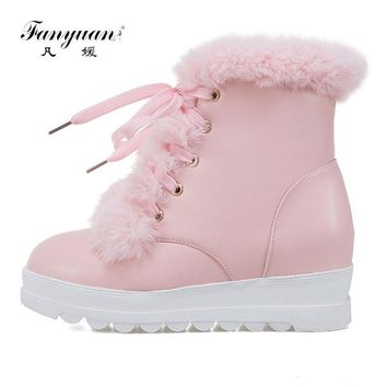 Fanyuan 2017 Hot Sale Shoes Women Boots Solid  Lace up  Soft Cute Women Snow Boots Round Toe Flat with Winter Fur Ankle Boots