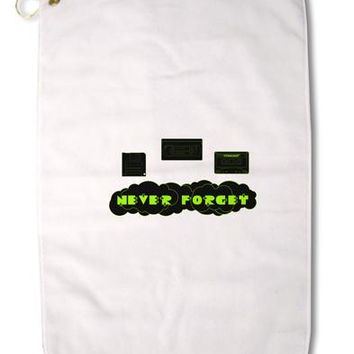 "Never Forget Retro 80's Funny Premium Cotton Golf Towel - 16"" x 25 by TooLoud"