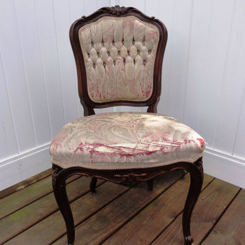 NYP SALE! Victorian Walnut Parlor Chair, Rococo Hand Carving, Queen Anne Legs, French-Diamond Tufted Back, Furniture #543