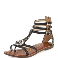 Giselle Beaded Gladiator Sandal, Black/Ivory - Sam Edelman