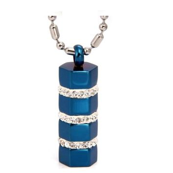 Blue Tone Stainless Steel Cylinder Pendant Necklace