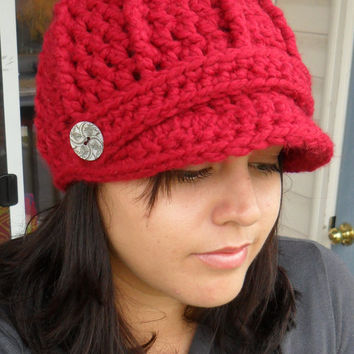 Newsboy Cap with ButtonsDeep RedYou Pick by SoLaynaInspirations