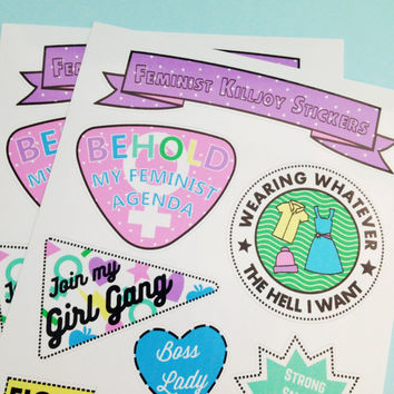 Feminist Killjoy Sticker Sheet - Vinyl Feminism Stickers