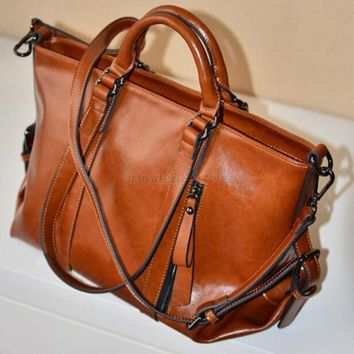 Women's Leather Tote Purse Messenger Hobo Handbag Brown Shoulder Bag Shopping US