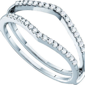 14kt White Gold Womens Round Diamond Ring Guard Wrap Enhancer Wedding Band 1/4 Cttw 46728