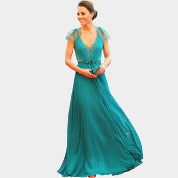 2016 new style Sexy V Neck Cap Sleeves Lace Evening Dresses Kate Middleton Jenny Packham Green Celebrity Red Carpet Dresses