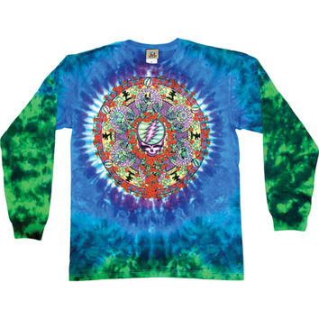 Grateful Dead Men's  Celtic Mandala Tie Dye  Long Sleeve Multi