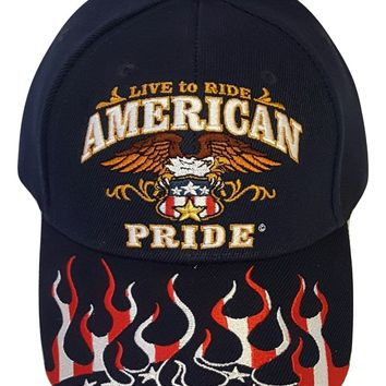 Biker Hat Adjustable Motorcycle Cap Live To Ride, Choose Embroidered Design
