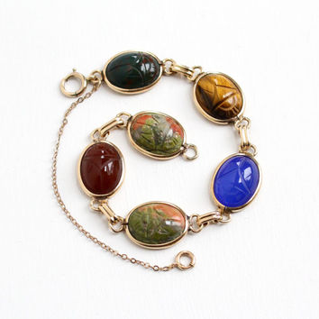 Vintage 12k Yellow Gold Filled Scarab Bracelet - Retro Carved Tiger's Eye, Carnelian, Bloodstone, Unakite Egyptian Revival Beetle Jewelry