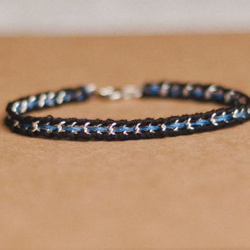 Thin blue line woven silver or gold chain bracelet, law enforcement wife, police woman, black blue friendship bracelet, feminine, pretty
