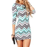 IvoryMint Zig Zag Aztec Scuba Dress