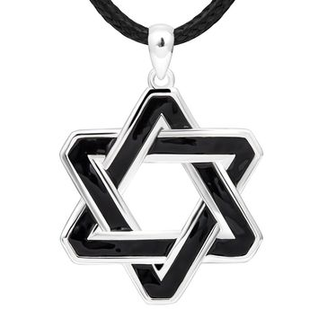Charm Enamel Black Star of David Real 925 Sterling Silver Large Pendant Necklace with White Gold Plated Long Chain Gifts Jewelry for Men