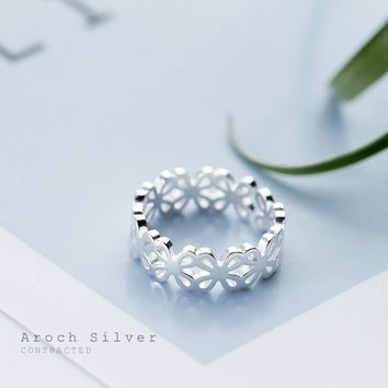 925 Sterling Silver Fashion Flower Hollow Ring Open Ring Index Finger Ring J528  171204