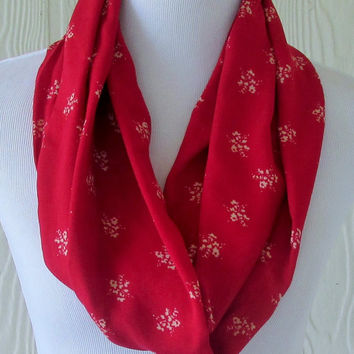 Short Floral Infinity Scarf , Red Women's Scarf , Circle Scarf, Loop Scarf, Tube Scarf , Scarves, Eclectasie