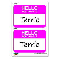 Terrie Hello My Name Is - Sheet of 2 Stickers