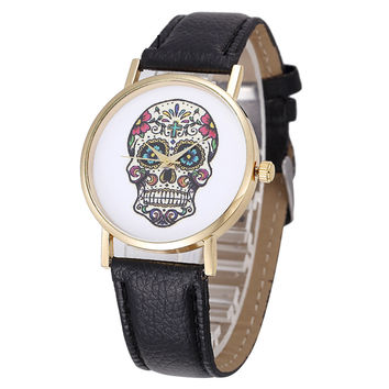 Skull Skeleton Woman's Watch Mexican Catrina Flowers Cross Pu Leather Wristwatch Vintage Fashion Casual Geneva Watch Reloj Dama