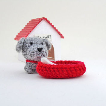 Amigurumi miniature crochet dog (gray). Crochet dog. Miniature dog with extras. Amigurumi dog. Stocking stuffer.