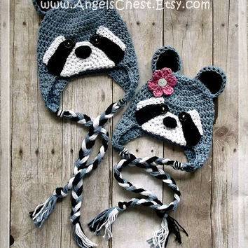 Crochet RACCOON Beanie Earflap Hat PDF Pattern Sizes Newborn to Adult Boutique Design - No. 56 by AngelsChest