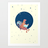 space chicken Art Print by Emilia Jesenska