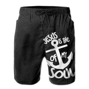 Jesus Is The Anchor Of My Soul Christian Mens Fashion Casual Beach Shorts