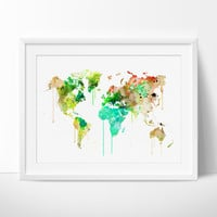 World Map Poster, World Map Art, Colorful Abstract World Map, Watercolor Map Art Print, WORLD Map Splash Painting Travel Map (77)