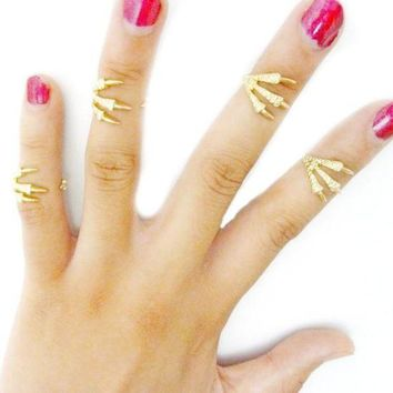 ac NOOW2 4 Pcs Fashion Women Talon Ring Joint Knuckle Nail Finger Rings Gift GD