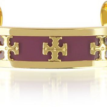 Tory Burch Enameled Raised-logo Cuff Bracelet