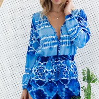 Bahia Playsuit Shibori Blue