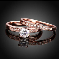 2.0 CTW Gorgeous Engagement Ring Set In Rose Gold Plated